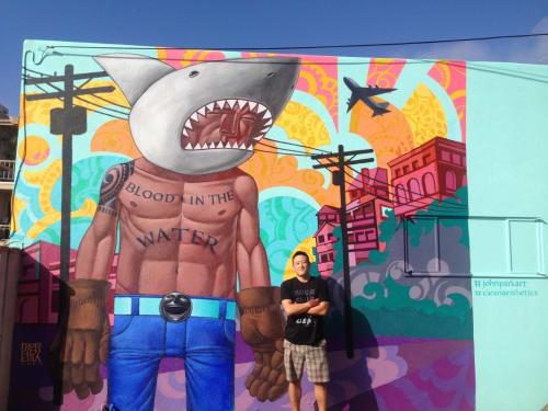 Murals by John Park seen at CLEAN {aesthetic} Playa Del Rey, CA, Los Angeles - Sharkboy 2014