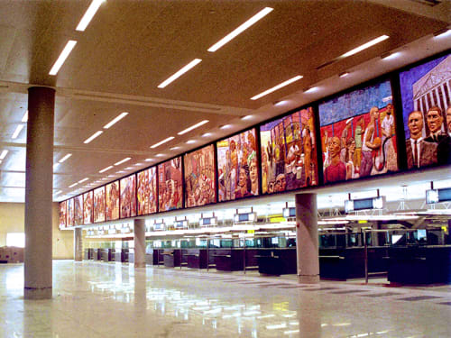 Murals by Deborah Masters seen at John F. Kennedy International Airport, New York - Walking New York
