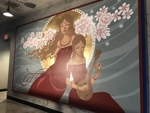 Murals by Audrey Kawasaki seen at House of Blues Anaheim, Anaheim - Shine On