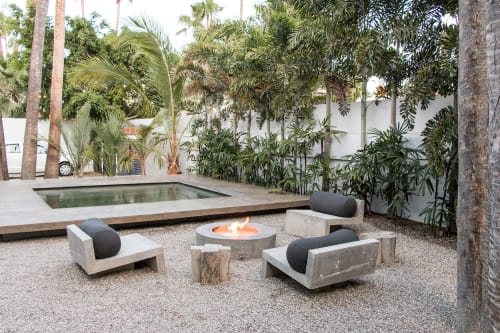 Furniture by Stu Waddell seen at Drift San Jose, San José del Cabo - Concrete Fire Pit Set-up