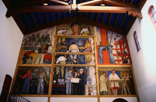 Murals by Diego Rivera seen at San Francisco Art Institute, San Francisco - The Making of a Fresco Showing the Building of a City