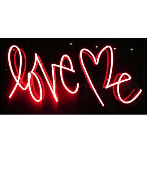 Lighting by Curtis Kulig seen at Sant Ambroeus SoHo, New York - Love Me, Neon