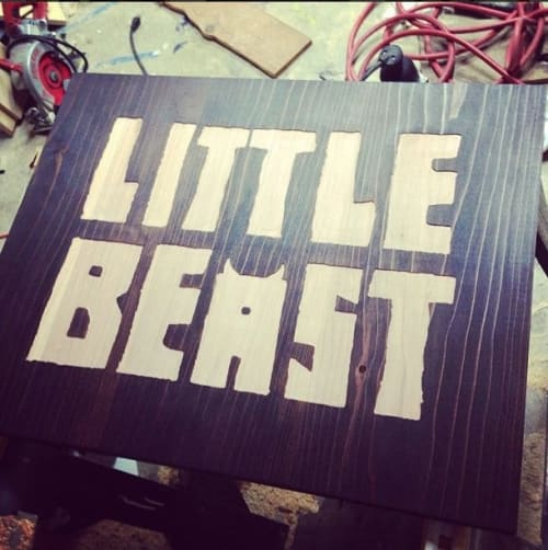 Signage by Leaf Cutter Studio seen at Little Beast Restaurant, Los Angeles - Wood Signage