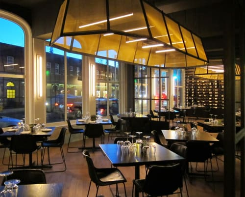 Chandeliers by CP Lighting at Vespa Restaurant, Westport - Custom Ceiling Fixture