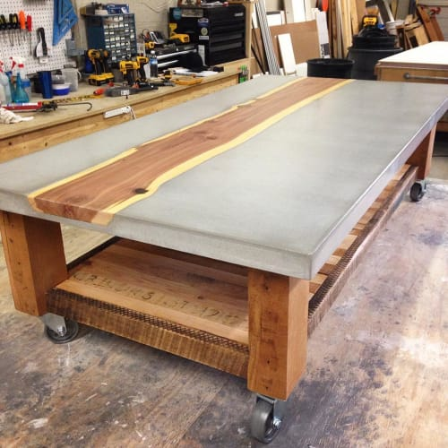 Tables by KonKrete Designs seen at Private Residence, Florida - Concrete & Timber Coffee Table