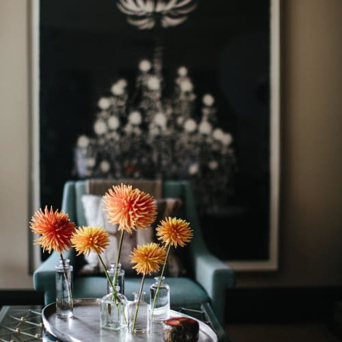 Floral Arrangements by Wallflower Design seen at Private Residence, San Francisco - Carl's Dahlias