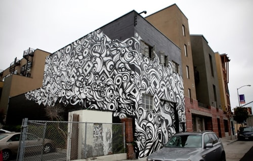 Murals by Victor Reyes seen at City Dance Annex, San Francisco - Building Wrap