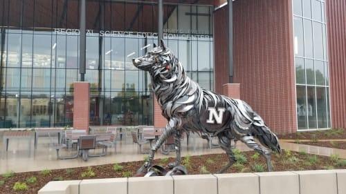 Public Sculptures by John Lopez seen at Northern State University, Aberdeen - Wolf