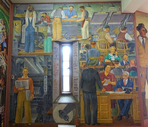 Murals by Suzanne Scheuer seen at Coit Tower, San Francisco - Newsgathering