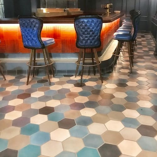 "Tiles by clé tile seen at Fisherman's Grotto, San Francisco - Blue Hex Medley 8"" Encaustic Cement Tiles"