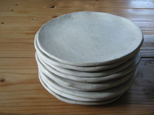 Ceramic Plates by Akiko's Pottery seen at COI, San Francisco - Handmade Slab Plates White Speckles