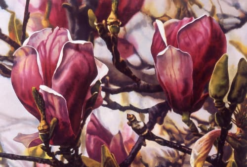 Paintings by Karen Frey seen at Kaiser Permanente Santa Clara Medical Center and Medical Offices, Santa Clara - Tulip Tree - IV
