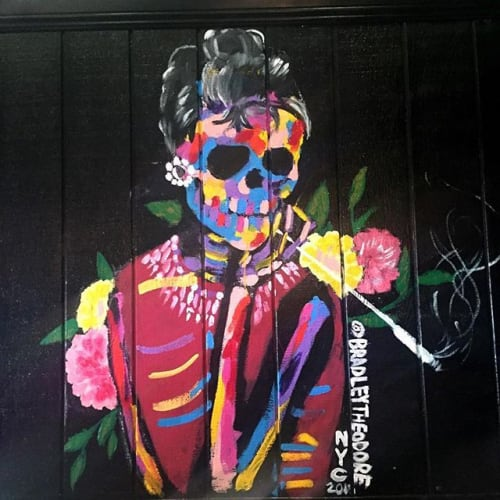 Murals by Bradley Theodore seen at Alfred Coffee (Melrose Place), Los Angeles - Custom Mural Audrey Hepburn