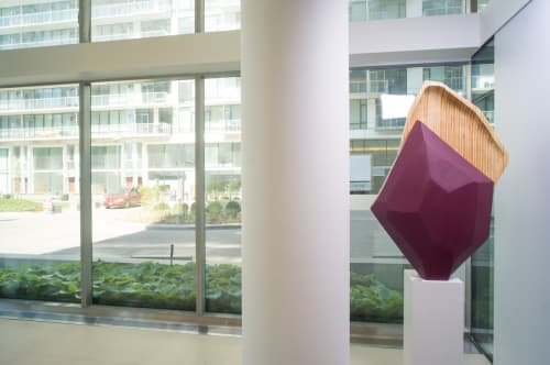 Sculptures by Rod Mireau seen at Pier 27 Condos, Toronto - Wooden Sculptures
