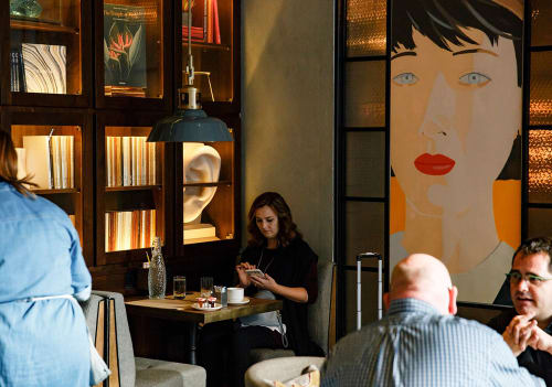 "Paintings by Alex Katz seen at The Vine, New York - Screenprint ""Samantha"" 1987"