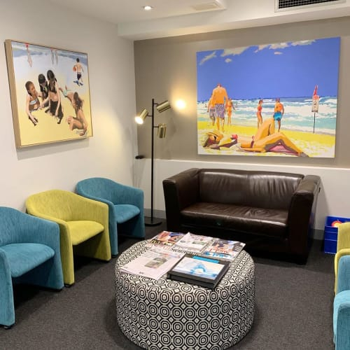 "Paintings by Gina Fishman Art seen at Dentists of East Melbourne, East Melbourne - ""Life's a beach"""