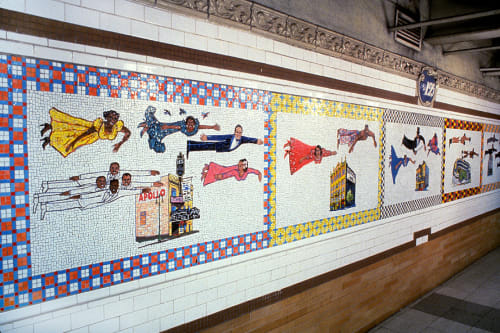 Public Mosaics by Faith Ringgold seen at Harlem-125th Street Station, New York - Flying Home: Harlem Heroes and Heroines