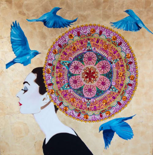 Paintings by Ashley Longshore at Private Residence, New Orleans - Audrey With Mandala Headdress, Blue Birds, And Gold Leaf Background