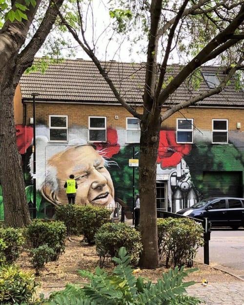 Murals by Ketones6000 seen at Wholesale Tropicals UK, London - David Attenborough Mural