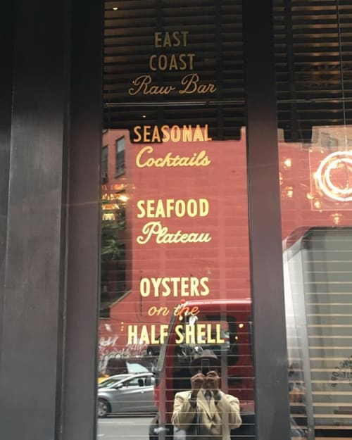 Signage by Ancient Art seen at The Oyster Bar At The Roxy Hotel, New York - Hand Paint Sign