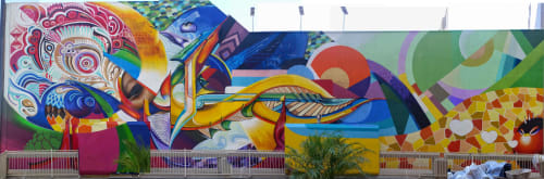 Murals by Maxx Moses seen at Union Bank, 530 B Street San Diego California, San Diego - Inceptions Reflections