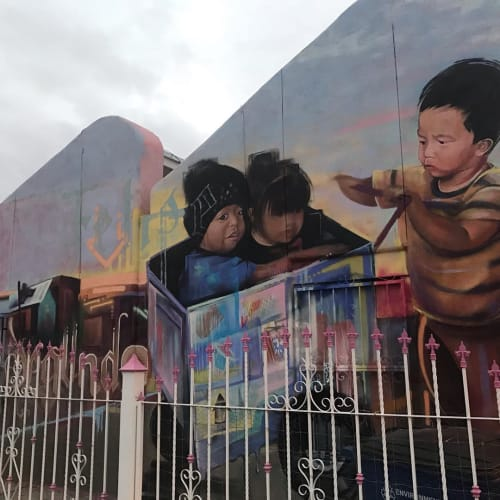 Street Murals by Victor Casas (aka Mask) seen at 601 3rd St, Anthony - Caution: Children Crossing!