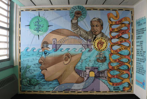 Murals by Christopher Cardinale seen at Robert N. Davoren Complex, Rikers Island, Bronx - Mapping Aspirations Community Mural