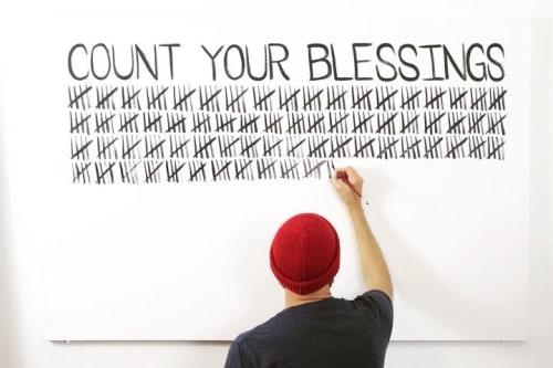 Murals by Matthew Allen Art seen at Private Residence, Newport Beach - Count your blessings mural