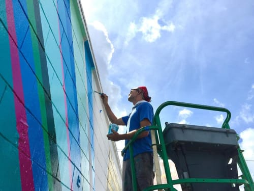 """Murals by Gibbs Rounsavall Artist seen at Goodyear Rubber Products Inc - Corporate Headquarters, St. Petersburg - """"A New Day"""" mural"""