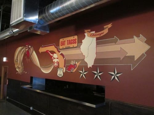 Murals by Mix Masters Murals seen at Bullhead Cantina, Chicago - Eat Tacos