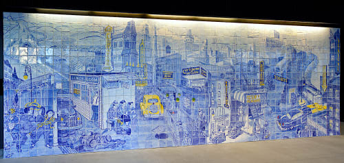 Murals by Sandow Birk + Elyse Pignolet seen at SFJAZZ Center, San Francisco - Jazz and the Nation, Jazz and the City, Jazz and the Afterlife