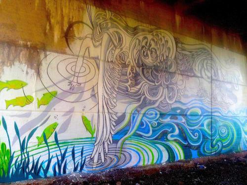 Street Murals by Paul Santoleri seen at Green Lane Bridge, Philadelphia - Oxum