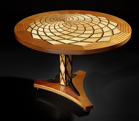 "Tables by Thomas Schrunk seen at 1500 Jackson St, Oshkosh - 41"" Diameter Offset Radial Table"