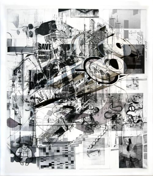 """Paintings by Tony Vazquez-Figueroa seen at Gild Hall, New York - """"Thing 5""""  Collage"""