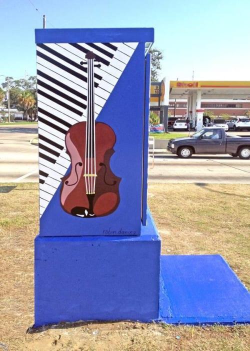 Street Murals by Robin Daning seen at Uptown/Carrollton, New Orleans - Musical Instrument