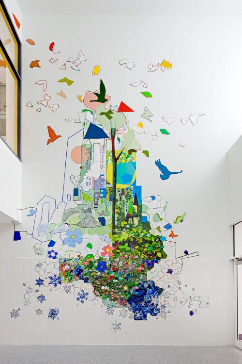 Murals by Sandy Litchfield seen at Senator John D. Calandra School, Bronx - PS14X