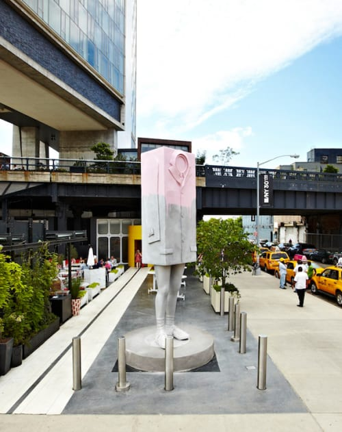 Sculptures by Erwin Wurm seen at The Standard, High Line, New York - Big Kastenmann