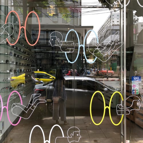 Murals by Kantapon Metheekul seen at Niche Nation Eyewear (Central Embassy), Khwaeng Lumphini - Teleport to Escape from the City