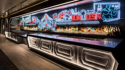 Lighting by Lite Brite Neon Studio LLC seen at W New York - Times Square, New York - Neon Back Bar
