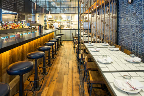 Tables by CRÈME Design seen at Lupulo, New York - Tiled Table Top
