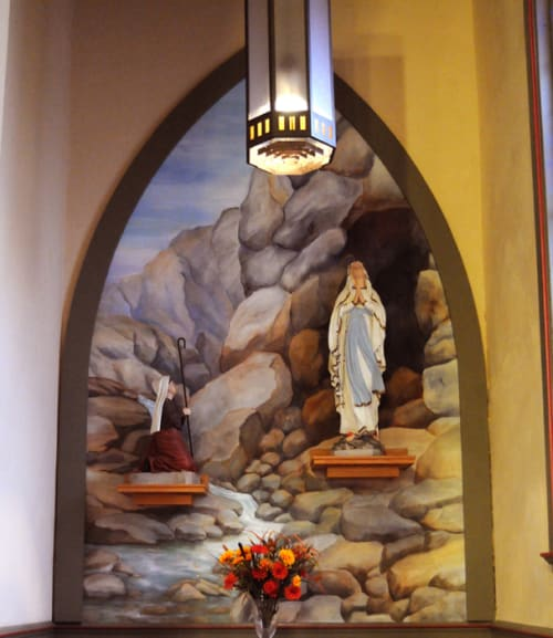 Murals by Javier Rocabado seen at Our Lady of Lourdes Church, Colusa - Catholic Church