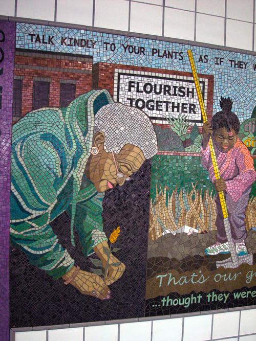 Public Mosaics by Olivia Gude seen at Central Park (CTA Pink), Chicago - Cannas & Corn: A Community Garden