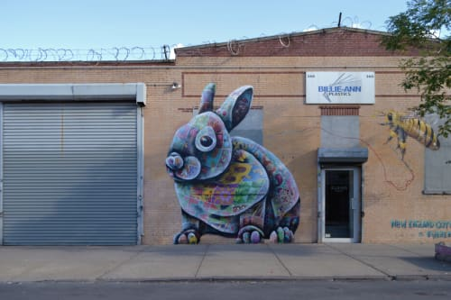 Murals by Louis Masai seen at Billie-Ann Plastics Packaging Corp., Brooklyn - Cottontail Rabbit