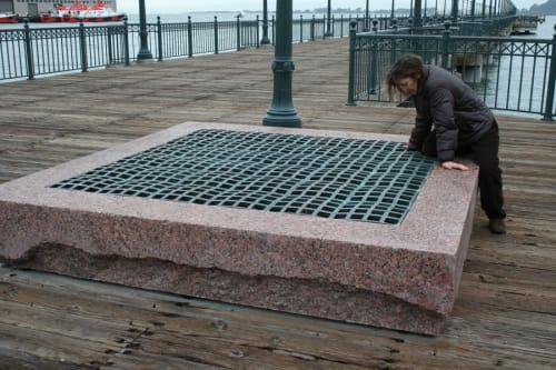 Sculptures by Steve Gillman seen at Pier 7, Embarcadero, San Francisco - Bay Bench