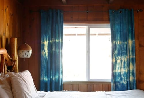 Curtains & Drapes by Lookout and Wonderland seen at Ojai Rancho Inn, Ojai - Indigo Tie Dye Curtains