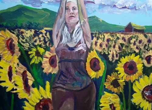 Paintings by Caroline Karp Artist seen at Private Residence, Safety Harbor - Sunflower Warrior Girl