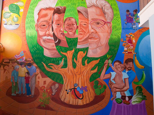 Murals by Joaquin Newman seen at Mission Neighborhood Health Center, San Francisco - The Right To Good Health