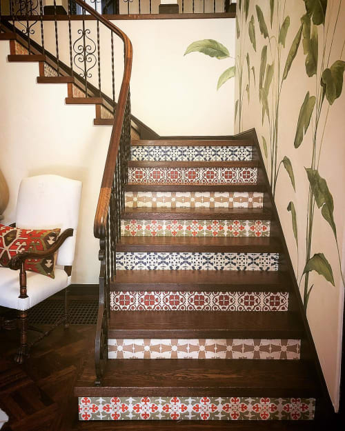 Wall Treatments by Caroline Lizarraga seen at Private Residence, San Mateo - Tile Painted Stairs