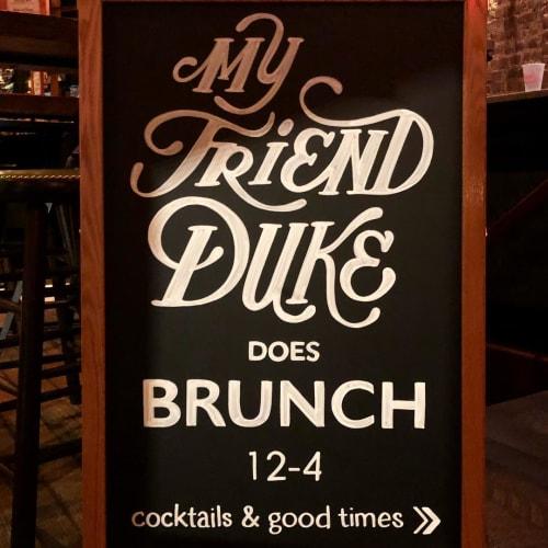 Signage by Megan Webber Jordan seen at My Friend Duke, New York - Chalkboard Sign