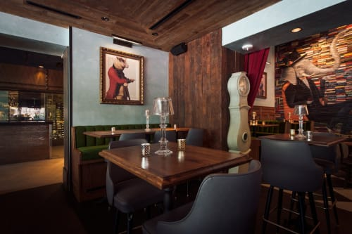 """Murals by Mike Stilkey seen at The Tuck Room Tavern, New York - """"The Elephant in The Room"""" mural"""